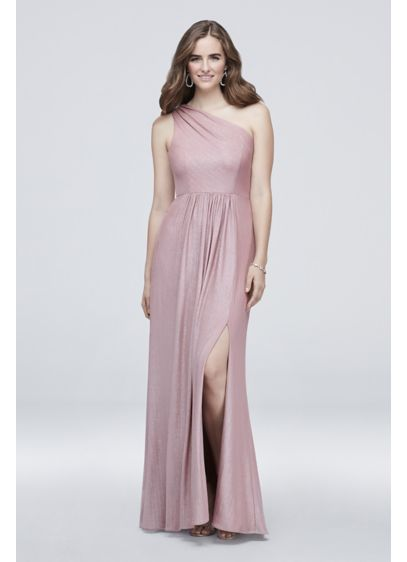 One-Shoulder Textured Foiled Jersey A-Line Dress - Complete with a front slit to showcase your